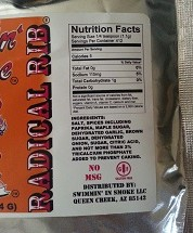 Radical Rib one pound Pouch Nutritional panel
