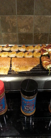 Shrimp, fish & poppers on the indoor grill
