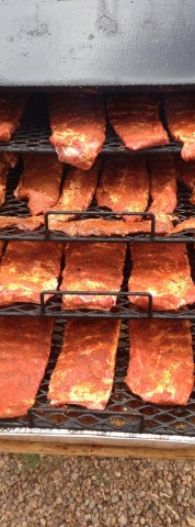 Ribs on the smoker